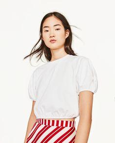 Zara Cropped White Top w Balloon Sleeves Zara Tops, White Tops, Ruffle Blouse, Sweatshirts, Skirts, Balloon Sleeves, Women, Fashion, Blouses