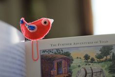 Seeing this tiny bird bookmark on my book would totally make me smile!  From WillowFolk on Etsy.