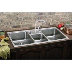 Elkay Lustertone L x W Triple Basin Drop-in Kitchen Sink Faucet Drillings: Drop In Kitchen Sink, Modern Kitchen Sinks, Apron Sink Kitchen, Farmhouse Sink Kitchen, Kitchen Sink Faucets, New Kitchen, Kitchen Utensils, Kitchen Ideas, Composite Kitchen Sinks