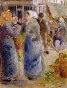 Camille Pissarro (French artist, 1830-1903) The Market.
