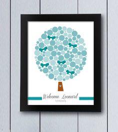 Árbol de huellas o firmas, cuadro con columpio, ideal para recuerdo en fiestas, nacimientos,cumpleaños infantiles, árbol de familia, decoración
