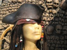 Jack sparrow Leather Tricorn Tricorner Pirate by AcmeBrandReplicas