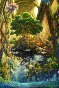 99 best fantasy forest images in 2018 Fantasy Artwork, Fantasy Art Landscapes, Fantasy Landscape, Landscape Art, Beautiful Landscapes, Landscape Paintings, Fantasy City, Fantasy Places, Fantasy World