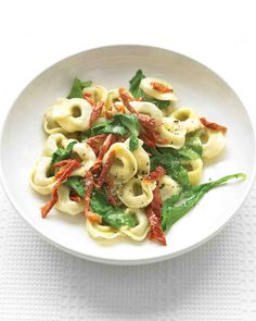 Beef Tortellini with Arugula and Sun-Dried Tomatoes - used TJ's prosciutto tortellini and jarred sun dried tomato added with arugula step