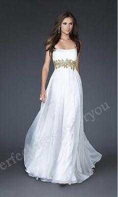 Sheath White Chiffon Empire Long Prom Dresses Perfect1729