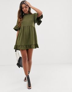 Browse online for the newest ASOS DESIGN mini frill sleeve smock dress in sweat styles. Shop easier with ASOS' multiple payments and return options (Ts&Cs apply). Stylish Clothes For Women, Stylish Outfits, Dress Outfits, Fashion Dresses, Sweat Dress, Asos, Smock Dress, Short Dresses, Summer Dresses