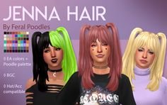 """feralpoodles: """" Jenna Hair - Maxis Match CC Here's the hair from Jenna Marbles' e-girl makeover video with a bonus half and half overlay accessory for maximum e-girliness. Sims 4 Cc Packs, Sims 4 Mm Cc, Girl Makeover, Sims 4 Anime, Half And Half Hair, Pelo Sims, Sims 4 Gameplay, Sims 4 Toddler, Sims Hair"""