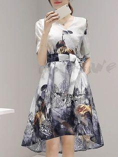 花柄プリントベルと付き膝丈大裾ワンピース 12816411 - デートワンピース - Doresuwe.Com