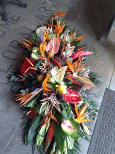 Funeral Flowers.Tropical flower casket spray, www.thefloralartstudio.co.uk