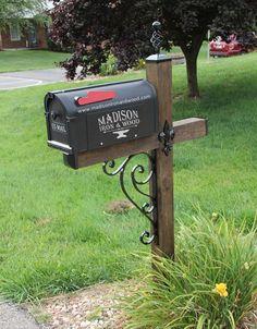Scrolled Iron Mailbox Post Dress Up Kit, Wrought iron Mailbox Post Wave Scroll Design #MailboxLandscape