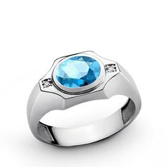 Men's Gemstone Ring in Sterling Silver with Blue Topaz and Natural Diamonds
