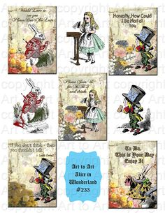 ALICE in WONDERLAND Vintage Style Tags ATCs Digital by arttoart