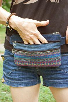 Waist Purse, Belt Purse, Boho Plus Size, Diy Sac, Denim Belt, Handmade Bags, Handmade Bracelets, Bum Bag, Credit Cards