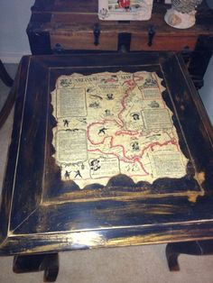 solid wood end table now a pirate map table, painted furniture, repurposing upcycling