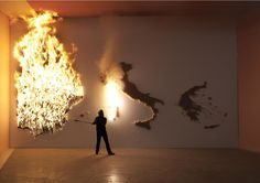 P.I.G.S. a burning art installation of Claire Fontaine (2011).