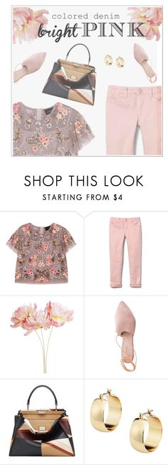 """""""Colored denim 🌸✨"""" by ghada-a ❤ liked on Polyvore featuring Needle & Thread, Pier 1 Imports, Summit and Fendi"""