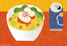 editorial illustration,MONOCLE, issue 76 on Behance Contemporary art Japanese Art Styles, Theme Nature, Japanese Poster, Food Drawing, Flat Illustration, Illustrations And Posters, Vintage Japanese, Food Art, Print Patterns