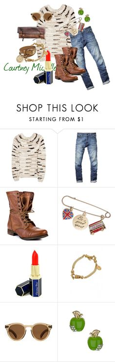 """""""London"""" by courtneymichele ❤ liked on Polyvore featuring Chloé, Scotch & Soda, Steve Madden, Cath Kidston, Christian Dior, GALA Curios, Illesteva, Mulberry, boyfriend jeans and leather clutch"""