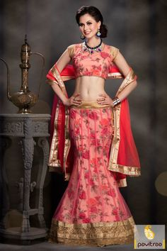 New fashionable red and pink color net lehenga choli with reduce cost buy online store. A nice chaniya choli is made with golden lace border and printed work.  #lehengacholi, #chaniyacholi, #ghagracholi, #garbacholi, #weddingbrodalcholi, #navratricholi, #lehengastyle, #festivalcholi, #utsavfashion, #pavitraafashion,  http://www.pavitraa.in/store/lehengha-choli/