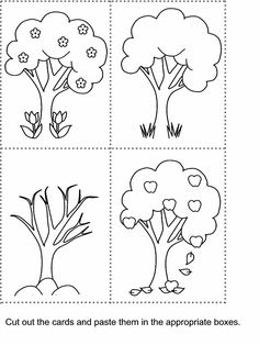Four seasons colouring page preschool ideas Pinterest English