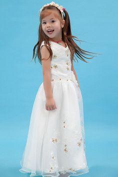 White Organza V-Neck Flower Girl Dresses - Order Link: http://www.theweddingdresses.com/white-organza-v-neck-flower-girl-dresses-twdn1115.html - Embellishments: Applique , Beading , Sequin; Length: Floor Length; Fabric: Organza; Waist: Natural - Price: 59.43USD