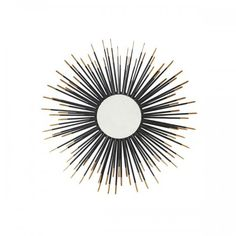 Add a burst of style to any room in your home with the Madison Park Neya Mirror. This round mirror features a bold starburst design in a black metal finish with gold finishes on the tips, for a stunning luxurious look. Wall Mirror With Shelf, Metal Mirror, Black Mirror, Mantel Mirrors, Round Mirrors, Wall Mirrors, Black And White Furniture, Gold Wall Decor, Gold Furniture