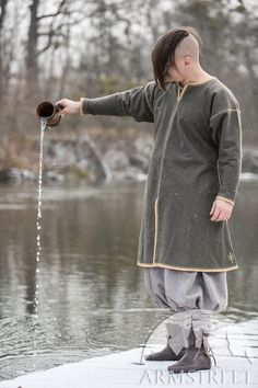 """Limited Edition Green Wool Viking Tunic """"Olegg the Mercenary"""" Viking Tunic, Medieval Clothing, Green Wool, Medieval Fantasy, Larp, Vikings, Hand Embroidery, Celtic, Normcore"""