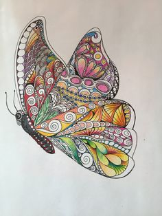 Zentangle butterfly,colored butterfly,butterfly art,wall art,ink colored pencils,zentangle,wall decor,colorful butterfly