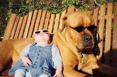 babies and doggies+ sunglasses= aaaaaaaaawwww!