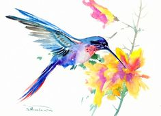 Hummingbird painting, 15 X 11 in, flame colors flowers, original watercolor sky blue green yellow