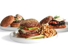 blanc burgers -  choose. 6oz burger and fries for lunch...9.75, both locations.