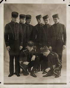 1920s Hotel Bellhops  ~ I do believe they are playing dice . . . And winning.