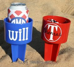 TWO+Monogrammed+Beach+Drink+Holders+Sand+by+happythoughtsgifts,+$28.00