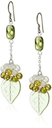 Green and Clear Bead Dangling Drop Earrings * Click on the image for additional details.