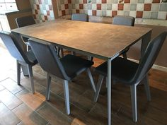 Link ceramic top dining table with faux leather Rania dining chairs. Delivered to our client in Leicestershire.