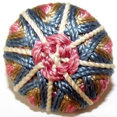 Antique Button Stellar Colorful Silk w/ needle by BlueTruckButtons