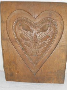 sehr große, alte Holzmodel für Lebkuchen, Lebzelten, Herzform mit Vögeln, 33,5cm