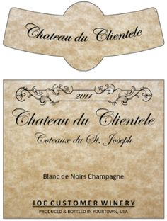 This classic parchment 2 part label with neck band is the perfect custom label for that sophisticated wine or hearty beer.