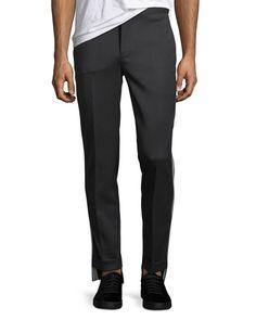 NEIL BARRETT TECHNO GAB IRREGULAR-HEM TRACK PANTS. #neilbarrett #cloth #