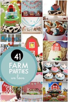Who wouldnÂ't be eager for an afternoon down on the farm? YouÂ're going to find a wagon load of fun decoration, cake and party ideas in our Farm Themed Birthday Party Round-Up! Farm Themed Party, Barnyard Party, Farm Party, Animal Birthday, 1st Boy Birthday, 3rd Birthday Parties, Birthday Ideas, Tractor Birthday, Birthday Cupcakes
