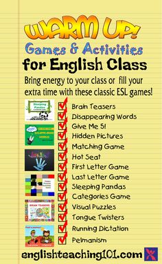 ESL Warm up Games and Activities with Free PowerPoint Downloads!