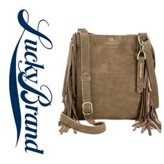 Lucky Rickey Fringe Crossbody Olive Chanel your free spirit with this cute crossbody from Lucky! Real leather suede in Olive with antique brass hardware and fringe which is so in right now! Also available in Merlot. Lucky Brand Bags Crossbody Bags