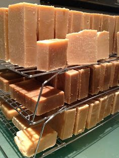 Handbrewed Soaps: Abbey ale, stout, and an IPA beer soap curing on stackable cookie sheets.  Great for small spaces!!!