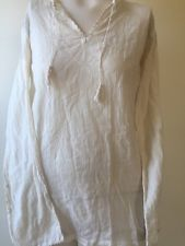 Vintage 1960s Embroidered Indian White Cotton Peasant Blouse Shirt Boho Flowers