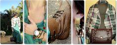 blog vitrine @ugust@ LOOKS | por leila diniz: casaqueto xadrez + vestido longo verde + bolsa com alça de metal e courino + msg de DEUS.