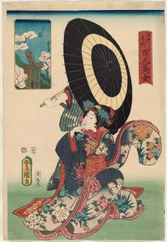Mimeguri, from the series One Hundred Beautiful Women at Famous Places in Edo (Edo meisho hyakunin bijo) Japanese 1857 (Ansei 4), 12th month Artist Utagawa Kunisada I (Toyokuni III) (Japanese, 1786–1864), Other artist Utagawa Kunihisa II (Japanese, 1832–1891)