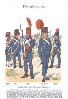 Vol 11 - Pl 11 - Frankreich. Karabiniers der leichten Infanterie 1794. 1796. 1799. 1800.