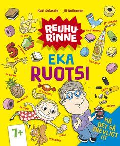 Title: Eka ruotsi | Author: Kati Solastie | Designer: Jii Roikonen, Päivi Puustinen Giraffe, Comic Books, Author, Comics, Yellow, Cover, Felt Giraffe, Giraffes, Writers
