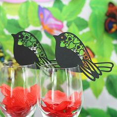 Venue Decorations Bird Wedding Name Place Cards Laser Cut On Wine Glass Pearlescent Card & Garden Wedding Name, Wedding Place Cards, Butterfly Table, Name Place Cards, Baby Shower Parties, Laser Cutting, Wine Glass, Creations, Names
