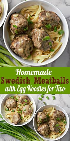 These Homemade Swedish Meatballs are tender, soft, and juicy, nestled on a bed of egg noodles and smothered in creamy savory brown gravy! The meatballs get their distinctive flavor from a bit of ground nutmeg and allspice. Use ground chicken or turkey as an alternative to the ground beef. This small batch recipe makes a perfect lunch or romantic date night dinner for two. #SwedishMeatballs #beef #meatballs #EggNoodles #DinnerForTwo #LunchForTwo #RecipesForTwo Egg Noodle Recipes, Meat Recipes, Dinner Recipes, Cooking Recipes, Healthy Recipes, Dinner Ideas, Cooking Kale, Healthy Cooking, Lunch Recipes